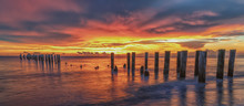 Old Pier At Sunset. Scenery At...