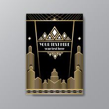 Art Deco Template Golden-black...