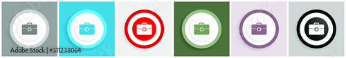 Photo Briefcase icon, bag, case, business vector illustrations in 6 colors options for