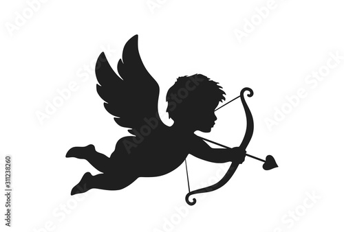 Photo cupid icon. valentine's day symbol. Cupid shooting arrow