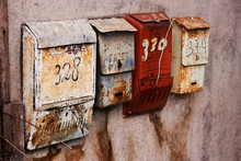 Old-fashioned Russian Mailboxe...