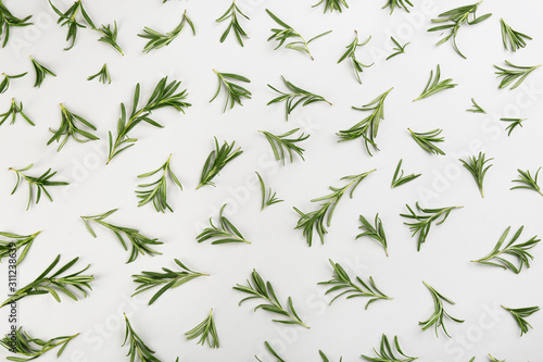 Fototapety, obrazy: Flat lay composition with fresh rosemary on light background