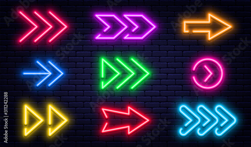 Set of glowing neon arrows Canvas Print