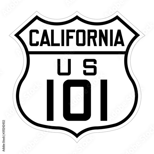Photo California us route 101 sign