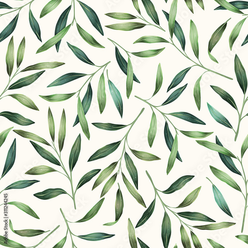 Photo Green leaves seamless pattern