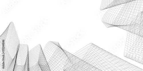 Fototapeta Abstract architectural background. Linear 3D illustration. Concept sketch. Vector obraz