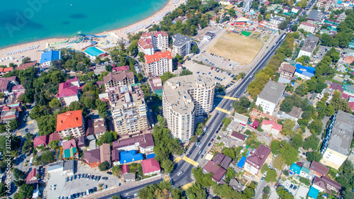 Photographie  Multi-storey residential buildings on the shore of Gelendzhik Bay