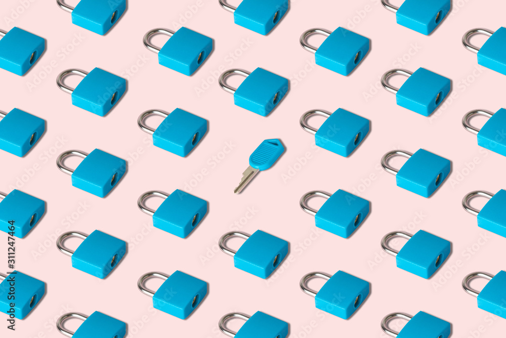 Fototapeta Closed key lock pattern with small key abstract composition.