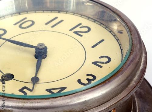 Vintage ship clock isolated on white background Fototapet
