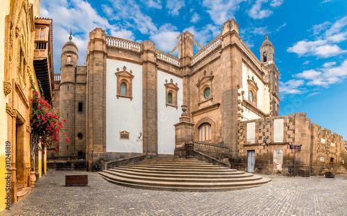 Landscape with Cathedral Santa Ana Vegueta in Las Palmas, Gran Canaria, Canary I Canvas Print