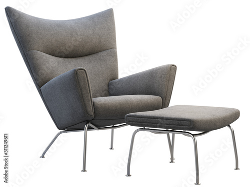 Mid-century dark gray fabric wing chair with ottoman. 3d render. Canvas Print