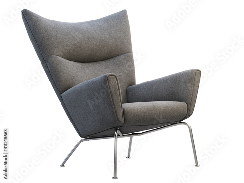 Mid-century dark gray fabric wing chair. 3d render. Wallpaper Mural