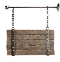 Wooden Signboard Hanging On Chains. Isolated, Clipping Path Included.