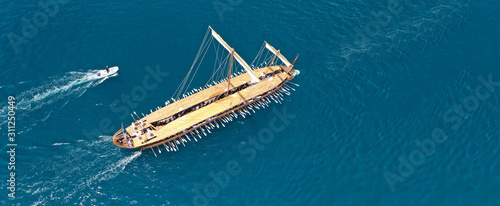 Aerial drone ultra wide photo of beautiful replica of ancient Athenian Trireme c Wallpaper Mural