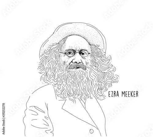 Photo Ezra Meeker Line art portrait