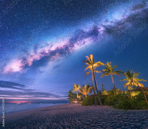 Milky Way over the sandy beach with palm trees and sunbeds and umbrellas at night in summer. Landscape with sea shore, beautiful starry sky, galaxy and green palms. Travel in Zanzibar, Africa. Space Wall mural