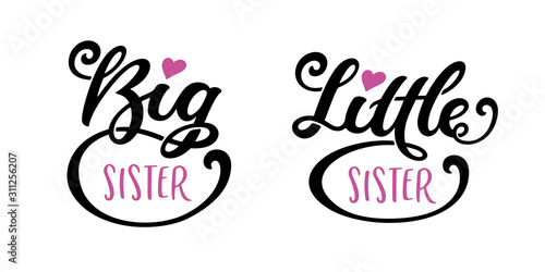 Obraz na plátně Big sister little sister kids clothes typography