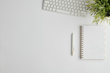 Copyspace for your advert surrounded by pen, computer keypad, notebook and plant