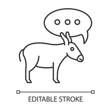 Balaam Donkey Bible Story Linear Icon. Speaking Animal And Speech Cloud. Biblical Narrative. Thin Line Illustration. Contour Symbol. Vector Isolated Outline Drawing. Editable Stroke