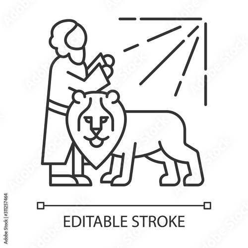 Daniel in lion den Bible story linear icon. Legendary hero praying. Religious legend. Biblical narrative. Thin line illustration. Contour symbol. Vector isolated outline drawing. Editable stroke Fotomurales