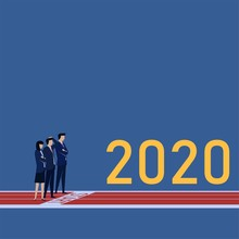 Business Flat Vector Concept Man And Woman Stand On Start Line Metaphor Of New Year New Start.
