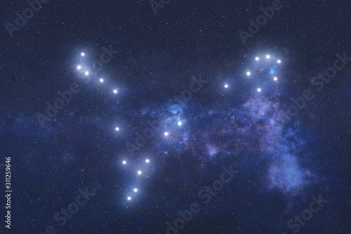 Fotomural Pisces Constellation stars in outer space