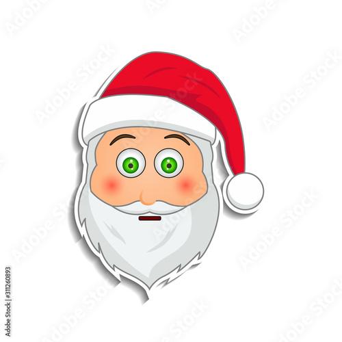 Emoji santa claus in sticker style Canvas Print