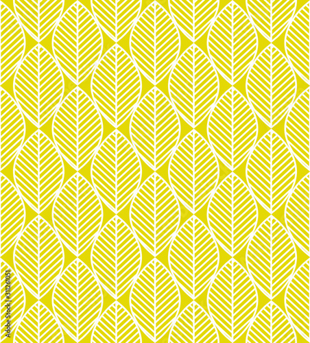 Seamless pattern with white and yellow leaves ornament - 311261051