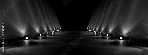 Lamps along an empty smooth track , beautiful reflections on sloping walls. 3d rendering image.