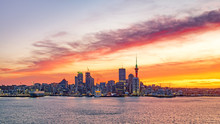 Panorama Sunset View Of Auckland City Skyline In New Zealand