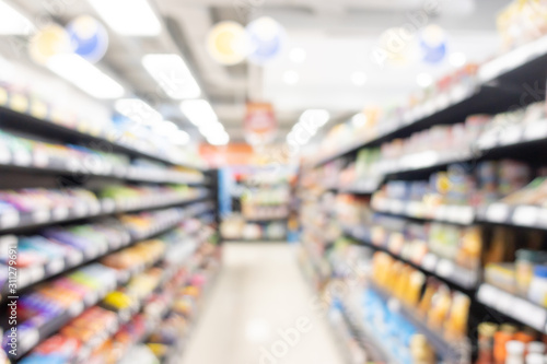 abstract blur shelf in minimart and supermarket Wallpaper Mural