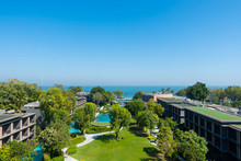 Aerial View Of Hua Hin Ocean Sea With Park And Garden In Thailand