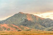 Mountainous Desert Sunset Landscape, Mojave Desert, California, USA
