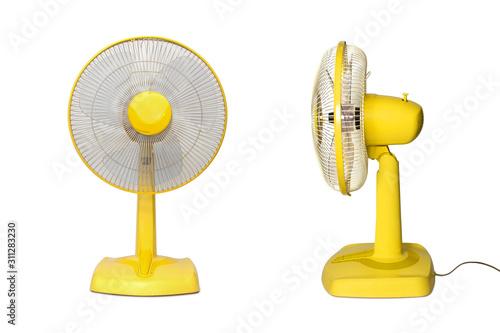 Valokuvatapetti Electric Yellow table fan isolated on white background