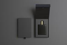 Blank Perfume Bottle In Hard Box For Branding, 3d Render Illustration.