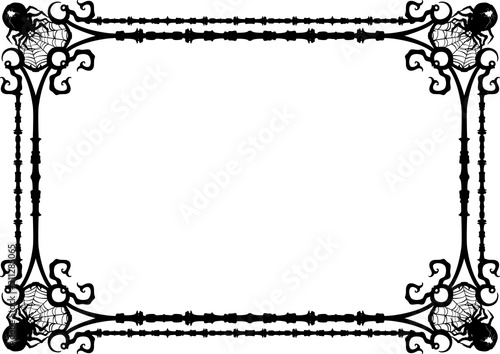 Photo Goth spiders frame/ Decorative frame with spiders and web corners