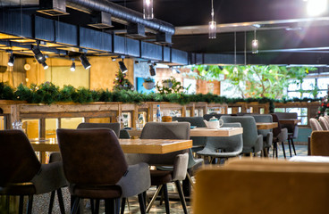 Interior of modern loft style restaurant