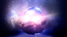 Magic Particles Emanating From Female Hands. Glass Ball In The Hands. Magic Particles On The Palms, Magic, Witchcraft.