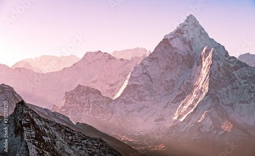 Fotografie, Obraz  Greatness of nature: majestic Ama Dablam peak (6814 m) at sunrise in Nepal, Himalayas