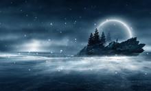 Futuristic Night Landscape Wit...