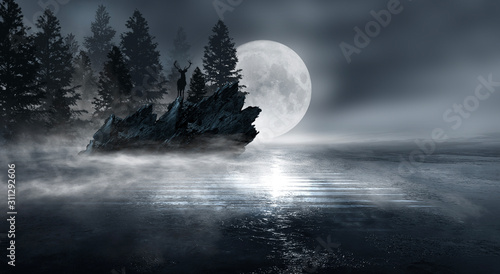 Futuristic night landscape with abstract forest landscape. Dark natural forest scene with reflection of moonlight in the water, neon blue light. Dark neon circle background, dark forest, deer, island.