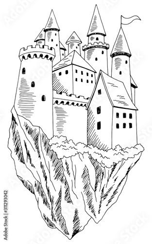 Flying castle graphic black white landscape sketch illustration vector Wall mural