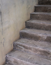 Concrete Staircase Under Construction Without Decoration. Close-up View.