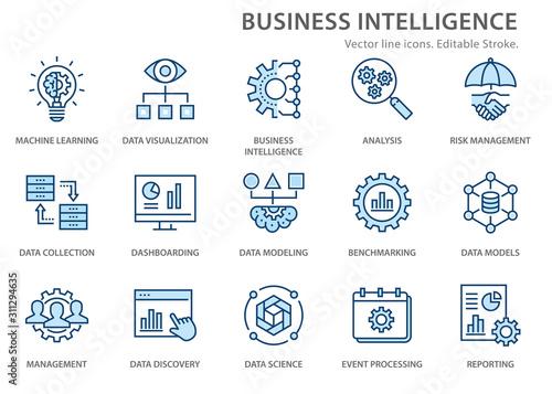 Business Intelligence icons set Fototapete