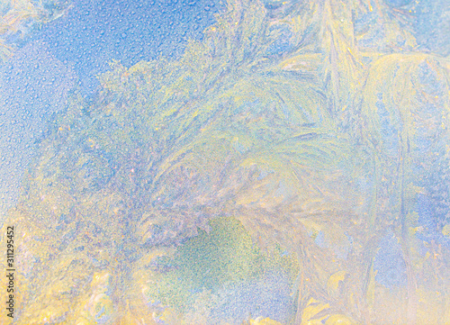 transparent frost texture on glass background Canvas Print