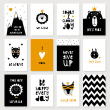 Set Of Cute Scandinavian Animal Postcards. Black, White, Golden. Vector Illustration In A Children's Style. Printing On Posters, Postcards, Clothing. Motivation. Bear, Fox, Wolf, Hare, Lion.