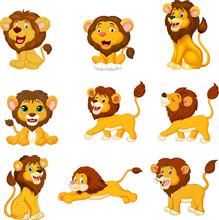 Cartoon Lions Collection Set O...