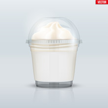 Clear Plastic Cup With Ice Cream And Sphere Dome Cap. Plastic Ice Cream Container With Label. Vector Illustration On Presentation Background.