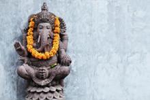 Ganesha Sitting In Meditating Yoga Pose In Hindu Temple.