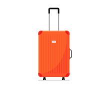 Red Plastic Suitcase Baggage For Travel With Wheels And Retractable Handle Front View. Luggage Bag For Summer Vacatoin Jourmey Flat Vector Illustration